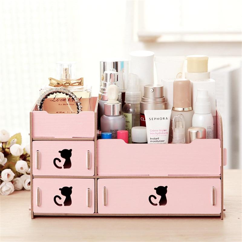 diy wooden cosmetic storage box drawer makeup organizer. Black Bedroom Furniture Sets. Home Design Ideas