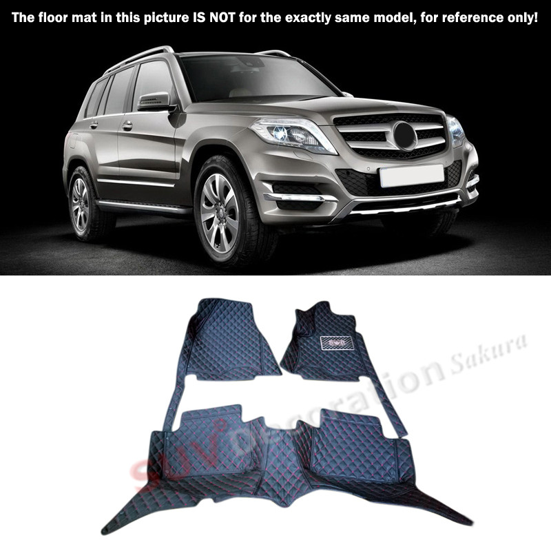For Mercedes-Benz GLK Class X204  2008-2015 Accessories Interior Leather  Front & Rear Carpets Cover Car Foot Mat Floor Pad 1set