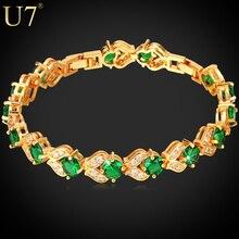 U7 Marca CZ Pulsera Del Encanto Del Oro Plateado Verde Esmeralda Sintética Cubic Zirconia Mujeres pendientes de Joyería de Moda de San Valentín Regalo H689