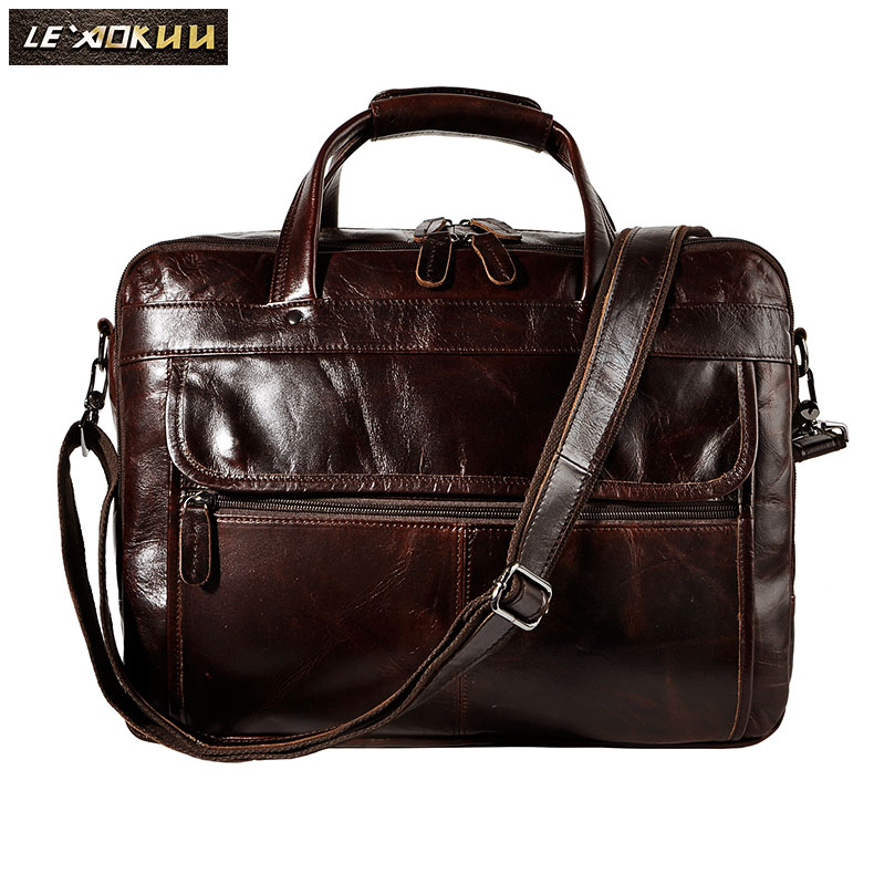 "Image 2 - Top Quality Men Real Leather Antique Style Briefcase Business 15.6"" Laptop Cases Attache Messenger Bags Portfolio B1001-in Briefcases from Luggage & Bags"
