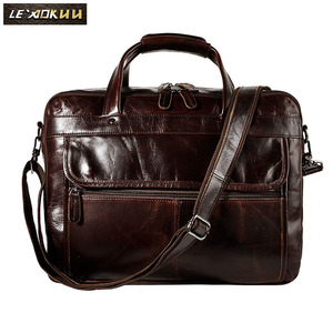 "Image 2 - Top Quality Men Real Leather Antique Style Briefcase Business 15.6"" Laptop Cases Attache Messenger Bags Portfolio B1001"