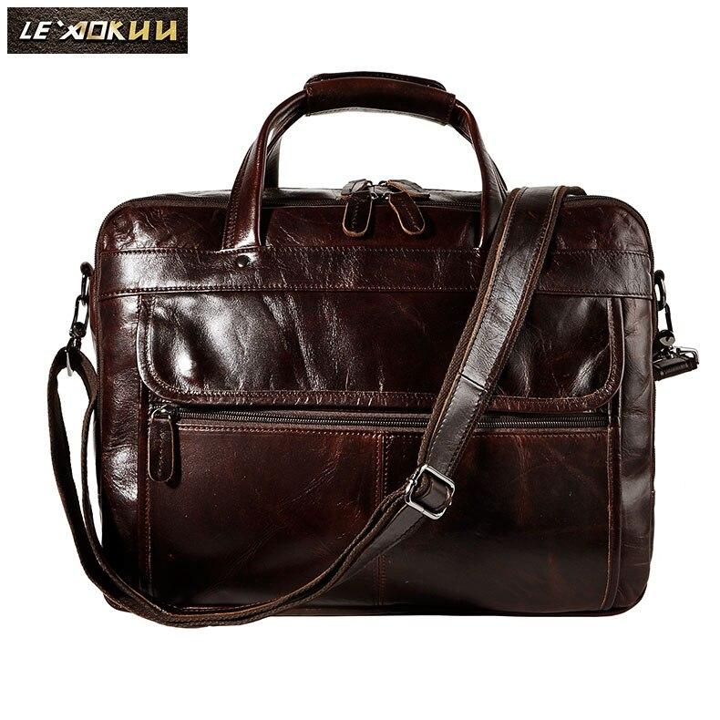 """Top qualité hommes en cuir véritable Antique Style serviette affaires 15.6 """"ordinateur portable cas Attache Messenger sacs portefeuille B1001-in Porte-documents from Baggages et sacs    2"""