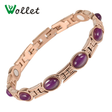 Wollet Jewelry Purple Crystal Rose Gold Color Magnetic Germanium Tourmaline Infrared Stainless Steel Bracelet For Female недорого