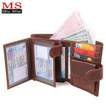 MS.QIUSHA Brand Small Genuine Leather Men Wallet Male Purse Clutch Male Coin Purse Change Credit Card Holder Perse Walet Men Bag