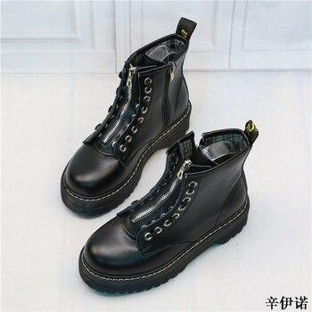 Лидер продаж, новые модные стильные зимние ботинки высокого качества из натуральной кожи в байкерском стиле martins, ботинки marten, женские ботил...