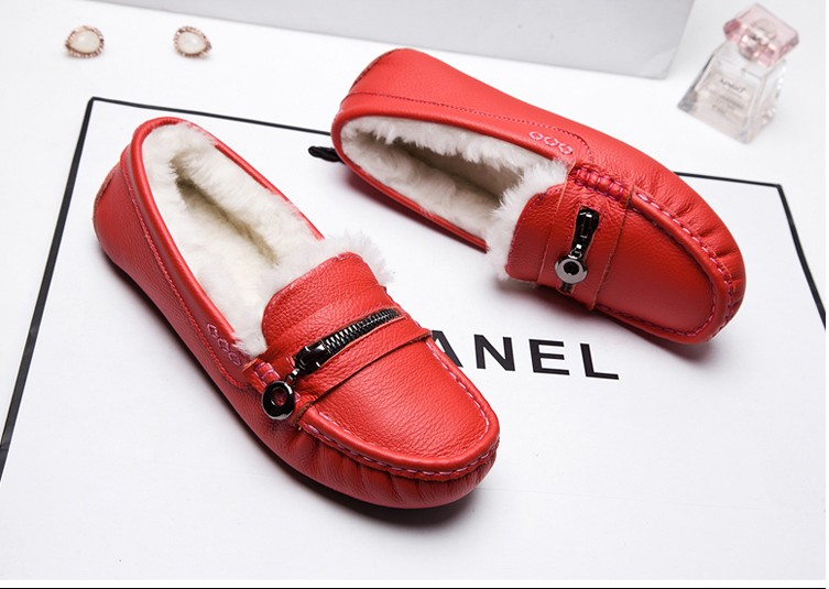 ФОТО 2017 Creepers Special Medium(b,m) 0-3cm Offer New Wool And Winter Beans Warm Round Toe Flat With The Female Fashion Shoes 045