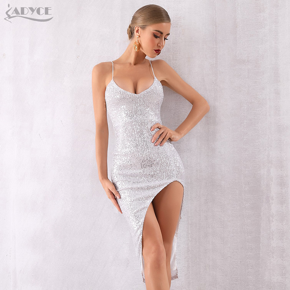 Adyce 2019 New Summer Silver Midi Celebrity Evening Party Dress Women Sexy Sequined Sleeveless Spaghetti Strap Deep V Club Dress-in Dresses from Women's Clothing    1