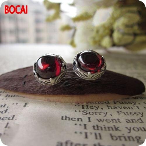 The authentic Thailand sub manual 925 sterling silver jewelry garnet red corundum retro Thailand Tremella nail.