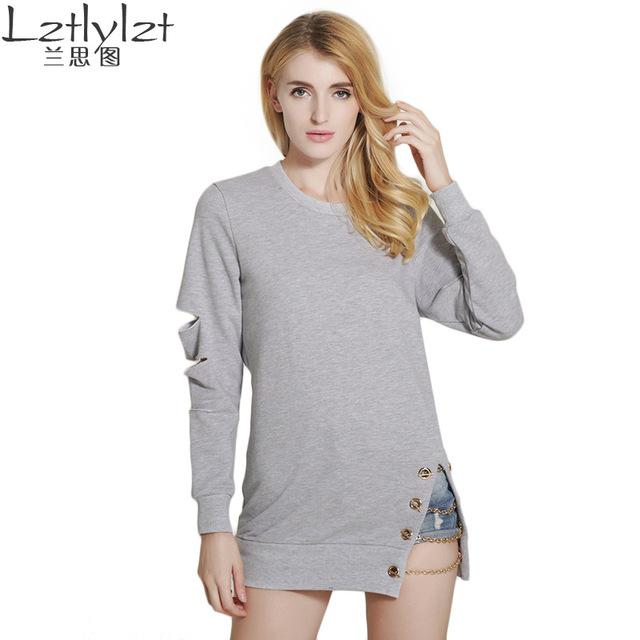 Lztlylzt 2016 outono new style longo tempo aventura Buracos mulheres camisola hoodies pullovers manga o pescoço Hem fenda corrente de metal