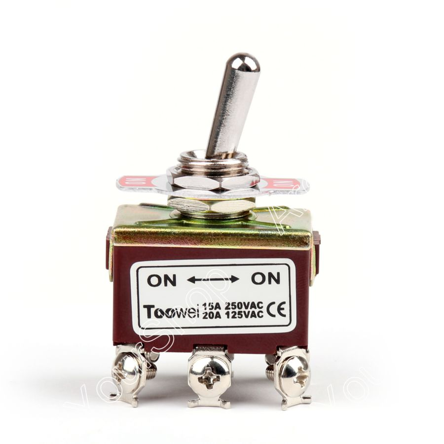 Areyourshop Toggle Switch 2 Terminal 6Pin ON-ON 15A 250V Toggle Switch Screw DPDT Industrial Grade S
