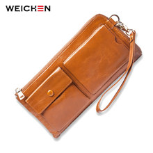 WEICHEN Cow Genuine Leather Vintage Women Wristlet Bags.Cell Phone Coin Card Pocket Purse Wallets Clutch Handbags Carteiras Lady(China)
