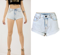 2016 High Waist Sky White Women Shorts Jeans Fashion Sexy Cropped Up Femme Bermuda Slim Curling