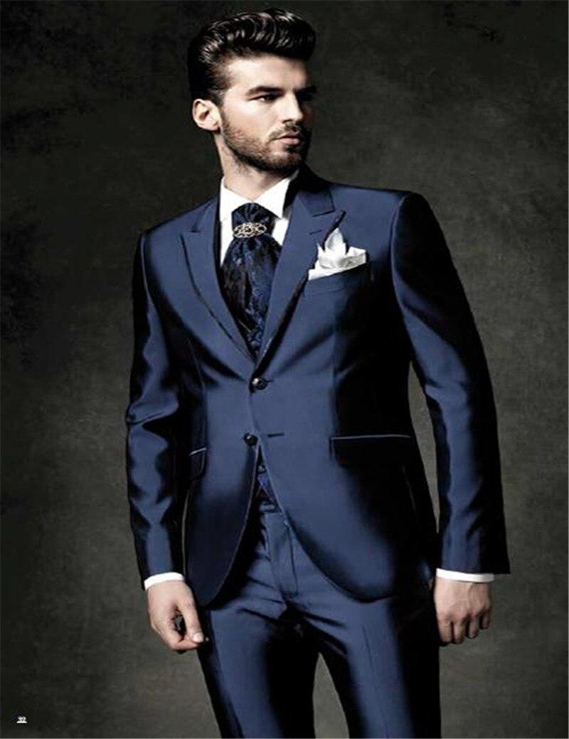 Navy Blue Jacket Groom Tuxedos Groomsmen Best Man Suit Men Wedding(Jacket+Pant+Tie+vest)costume Mariage Homme Traje Novio Hombre
