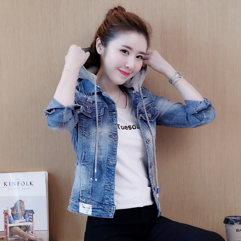 Detachable hooded denim   jacket   women hole jeans coat female large size denim   jacket   for women spring autumn outwear   basic     jacket