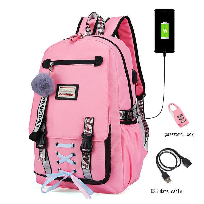 Jeinurkumc Anti-Theft Laptop USB Bag Striped Backpacks Women School Bags for Teenage Girls