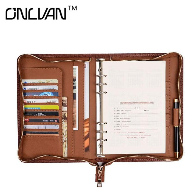 Onlvan Pu Leather Manager Folders Portfolio Faux Doent Holder Office Supply Business Accessories Support Customized