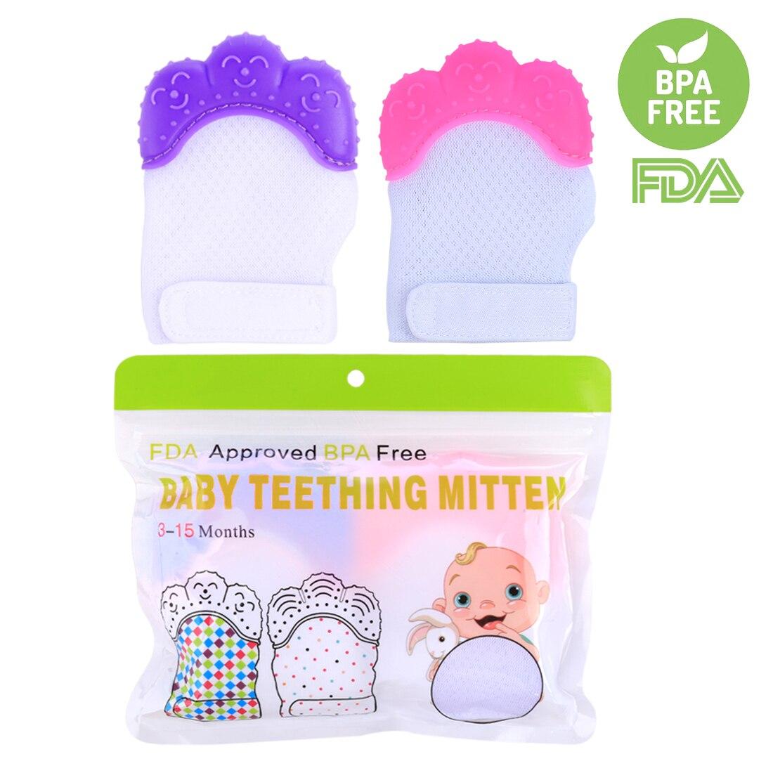 2Pcs Newborn Baby Nursing Mittens Teether Crawls Molar Ice Silk Gloves Mitten Toddler Teether Protective Glove