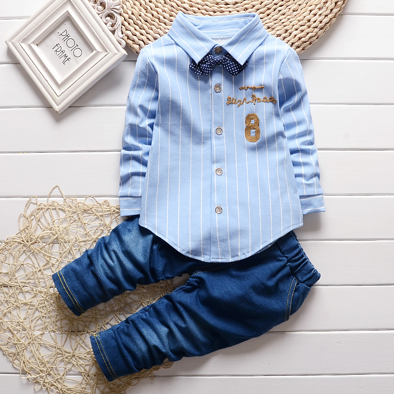 2017 children spring autumn baby boys clothing sets gentleman clothes suits kids sweatshirt child formal full shirt+ jeans