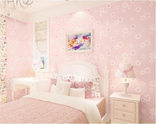 Fashion Wallpapers Girls Pink Pastoral Flowers 3D Non wovens Kids Room Princess Bedroom Romance papier peint