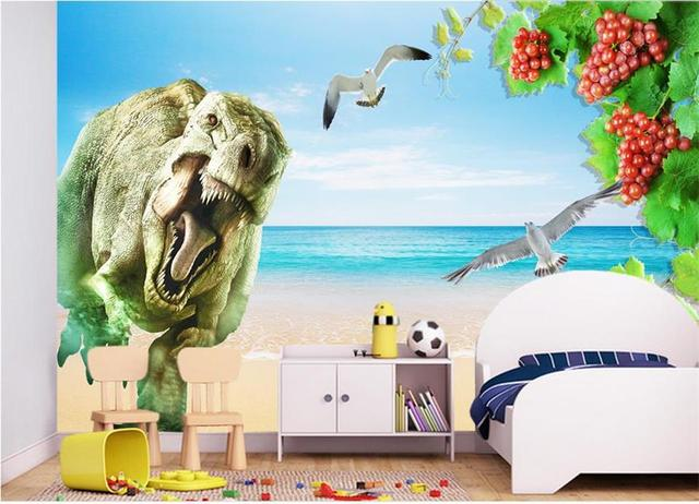 Custom Photo 3d Wallpaper Mural Non Woven Dinosaur Sea Bird Grapes Background Wall Painting Living
