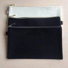 10 adet 20cmX12cm düz doğa pamuk tuval seyahat makyaj çantaları pamuk makyaj çantası kozmetik çantası altın gümüş fermuar