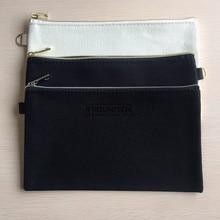 10PCS 20cmX12cm Plain Natur Baumwolle Leinwand Travel Kultur Taschen Baumwolle Make Up Beutel Kosmetik Tasche Mit Gold Silber Zipper