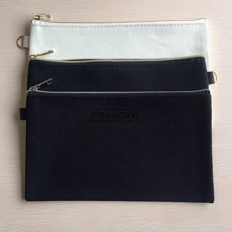 10PCS 20cmX12cm Plain Nature Cotton Canvas Travel Toiletry Bags Cotton Makeup Pouch Cosmetic Bag With Gold Silver Zipper