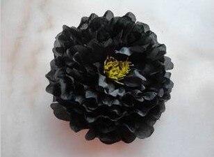 Искусственный Ткань 12 Слои 16 см большой пион роза цветок камелии головка для ювелирных изделий DIY Свадьба Рождество - Цвет: black