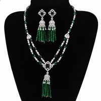 Elegant Nigerian Bridal Jewelry Sets Emerald African Beads Jewelry Set With Top Quality Cubic Zironia Diamond