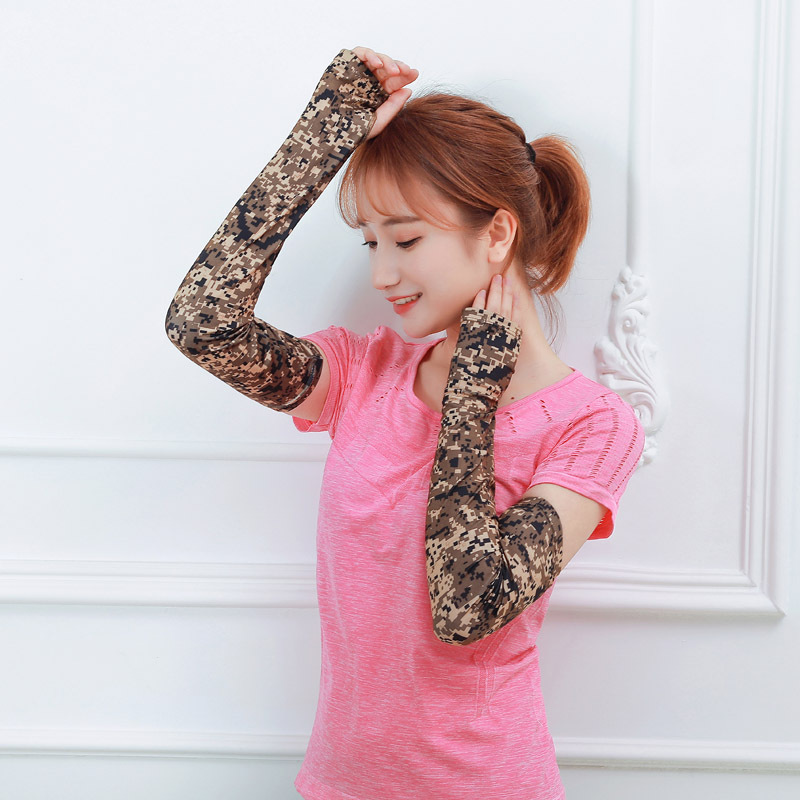 Camouflage Arm Sleeve For Outdoor Bicycle Ice Sleeve Anti-terrorism Tactical Camouflage Ice Wire Sunscreen Sleeve