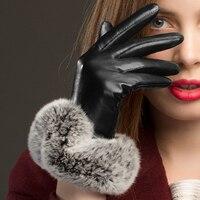 Fashion Black Women Genuine Leather Gloves Sheepskin Glove Wrist Rabbit Hair Thermal Winter Driving Gloves NW769 5