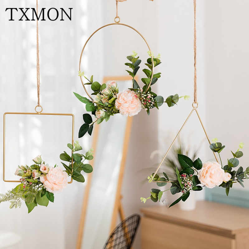 Nordic style creative wall hangings ins wrought iron garland hemp rope hanging artificial flower decoration home wall hangings
