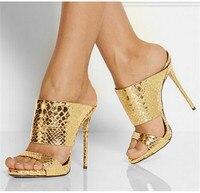 Gold Silber Snake-Gestempelt Slide Sandalen Sexy Gladiator Sandalen Frauen High Heels Pantoffel Frauen Schuhe Frau Pumpen Alias Mujer