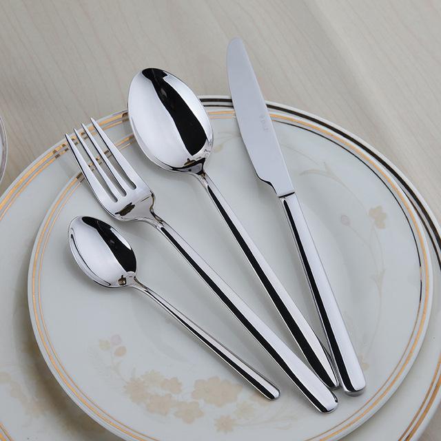Dinnerware Set Quality Flatware Food Grade Stainless Steel Cutlery Set,Knife Fork Spoon Tea Spoon,24 Pieces Set,Family Tableware