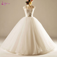 Waulizane Charming Organza Square Collar Princess Wedding Dress Delicate Beaded Pearls Appliques Lace Up Ball Gown