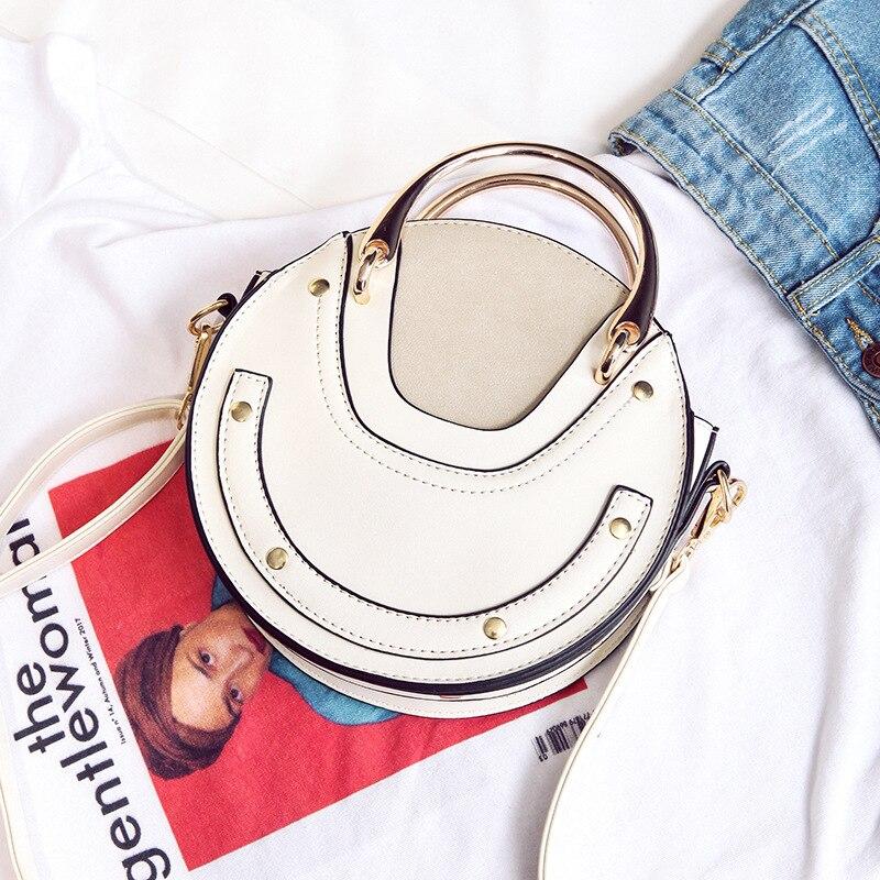 Female Bag Women's Handbags 2019 New Metal Handle Round Bag Shoulder Crossbody Portable Small Bag Bolsa Feminina - 2