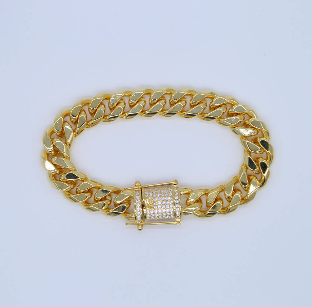 high quality micro pave AAA CUBIC ZIRCONIA WIDE cuban link chain bracelet Gold color hip hop bling mens jewelry bracelets