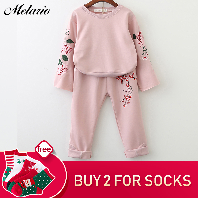 Melario Girls Clothing Sets 2018 Active Suits Girls Clothes Long Sleeve Sweatshirts+Pants Kids Clothing Sets 3-7Y Children Suits все цены