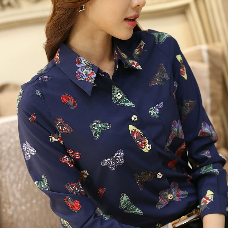 2020 spring slim Women Vintage Print Long Sleeve Shirt Casual  OL Blouse Top Blusa Femininas chiffon female shirts 4XL