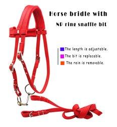 Frete grátis cavalo freio com rédea, nickle banhado anel snaffle bit. o bit é substituível (lt5003)