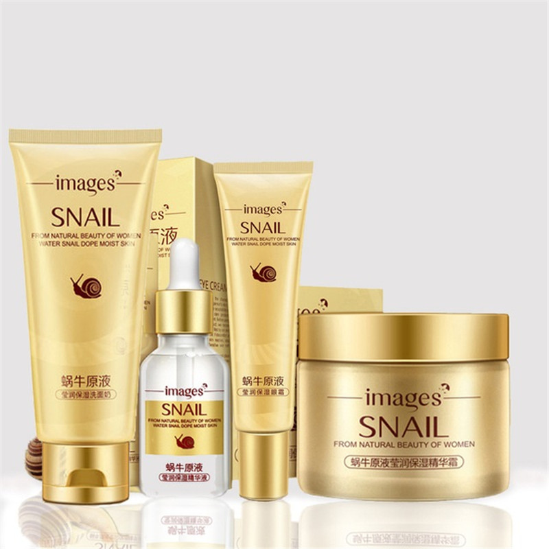 4 Pcs Snail Face Skin Care Set Day Cream/ Essence/ Eye Anti Aging Repair Whitening Nursing Facial Set