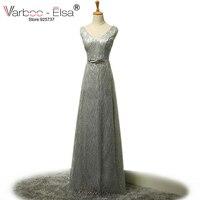 Abendkleider Lang Sparkly Sequin Silver Prom Dress V Neckline Floor Length Elegant Evening Dresses Backless Long