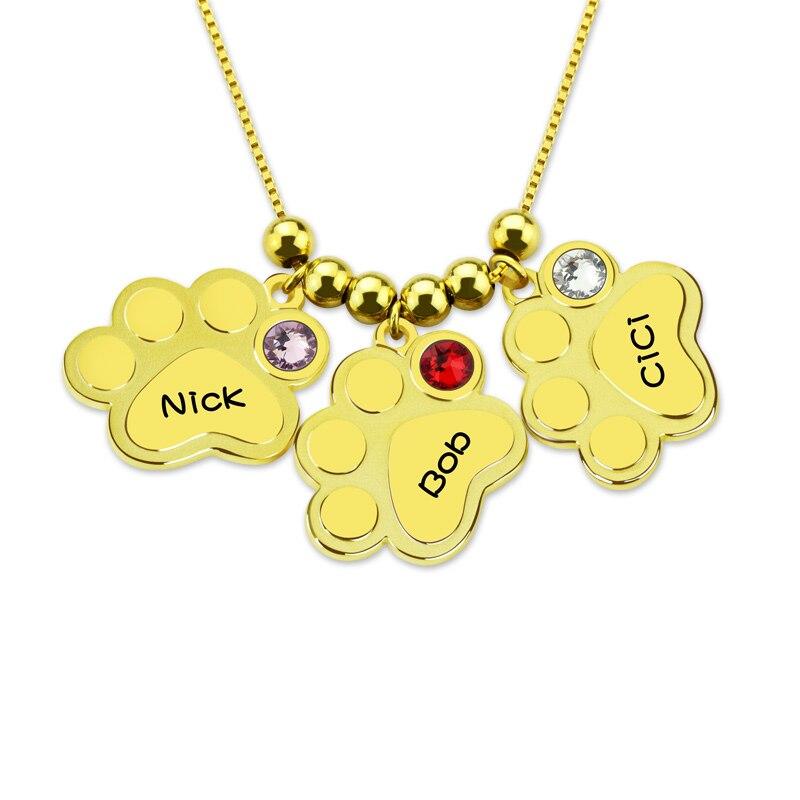 Personnalisé trois noms colliers 925 argent Sterling chien patte impression chaîne personnalisé lettre pendentifs avec pierre pour enfants animaux amoureux