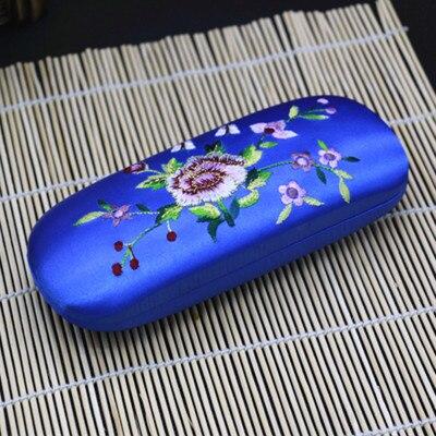 Высококачественная коробка ручной работы с двойной вышивкой, футляр для хранения очков, тонкая вишня, настоящая шелковая парча, Подарочная коробка, пенал - Цвет: Синий