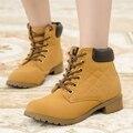 Mulheres marca de Moda Ankle Boots Heels Lace up Calçados Casuais da Mulher Oxfords Botas de Ferramentas de Couro Preto Amarelo Plus Size 40 41 42