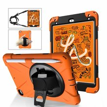 Conelz For iPad Mini 5 2019 Case Shockproof with 360 Degree Swivel Kickstand Hand Strap Shoulder for 4