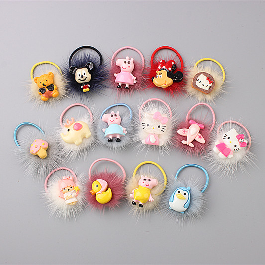 New Lovely Acrylic Plush Children Hair Ropes Elastic Rubber Hair Bands Girls Hair Accessories Baby Headwear Kids Headdress lovely bow 4 colors girls headbands newborn infant hair accessories children elastic hair bands kids headwear baby headdress