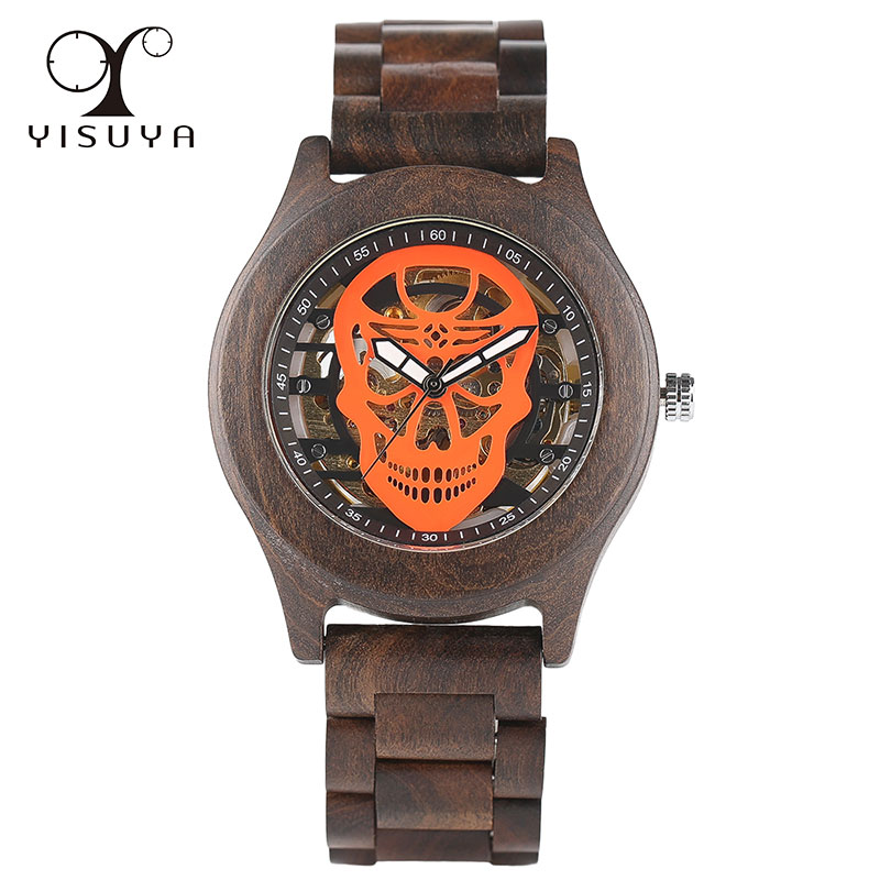 Men's Unique Skull Luxury Automatic Mechanical Casual Wooden Watch Skeleton with Full Wood Strap Steampunk Style ultra luxury 2 3 5 modes german motor watch winder white color wooden black pu leater inside automatic watch winder
