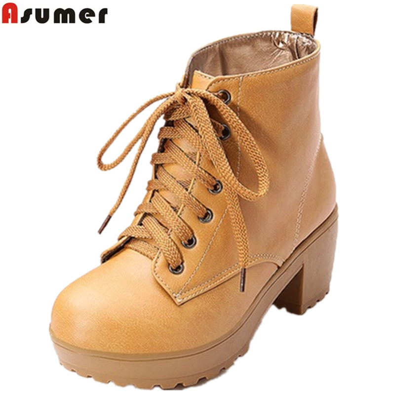 ASUMER Plus size 34-43 new fashion lace up ankle boots platform shoes spring autumn boots thick high heels women boots shoes daidifen 2017 autumn winter women ankle boots high heels lace up leather double buckle platform short booties new plus size 48