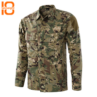 TENNEIGHT Tactical Men Outdoor Camouflage Fishing Shirt Camping Hiking Shirt Breathable Male Military Hunting Quick dry Top
